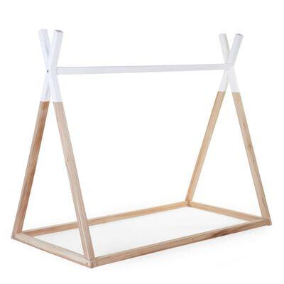CHILDHOME Posteľný rám, típí 70x140 cm, drevo, prírodná+biela B140TIPI