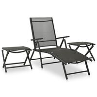vidaXL 3-dielna záhradná sedacia súprava textilén a hliník čierna