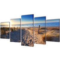 Sada obrazov na stenu, motív Piesočnatá pláž 100 x 50 cm