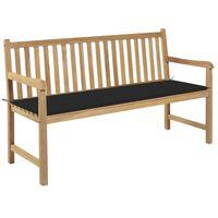 vidaXL Záhradná lavička s čiernou podložkou 150 cm tíkový masív