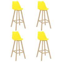 vidaXL Barové stoličky 4 ks žlté PP a masívne bukové drevo
