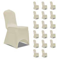 vidaXL Návleky na stoličku krémové 18 ks naťahovacie