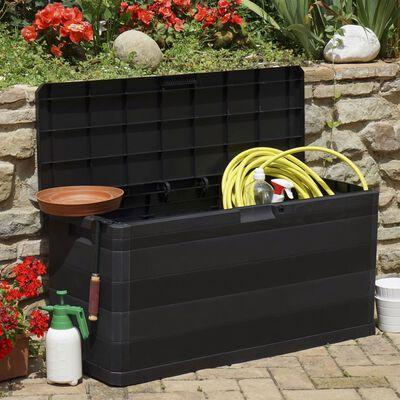 vidaXL Záhradný úložný box čierny 117x45x56 cm