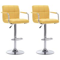 vidaXL Barové stoličky 2 ks, žlté, látka