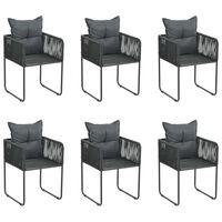 vidaXL Vonkajšie stoličky s vankúšmi 6 ks polyratan čierne