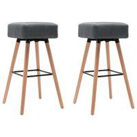 vidaXL Barové stoličky 2 ks, svetlosivé, látka