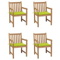 vidaXL Záhradné stoličky 4 ks jasnozelené podložky tíkový masív