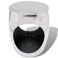 vidaXL Bočný stolík/stolička v tvare sudu, hliník, strieborný