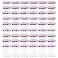 vidaXL Zaváracie poháre s bielo-fialovými viečkami 48 ks 400 ml sklo