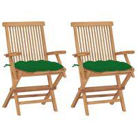 vidaXL Záhradné stoličky so zelenými podložkami 2 ks tíkový masív