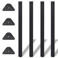 4 výškovo nastaviteľné stolové nožičky čierne 870 mm