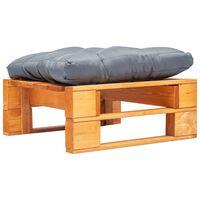 vidaXL Záhradná taburetka z paliet, sivá podložka, hnedá, drevo
