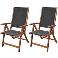 vidaXL Skladacie záhradné stoličky 2 ks, akáciový masív a textilén