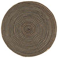 vidaXL Ručne vyrobený jutový koberec, špirálový dizajn, čierny 120 cm