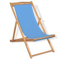 vidaXL Kreslo na terasu, tíkové drevo 56x105x96 cm, modré