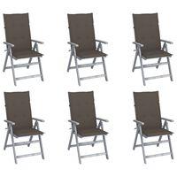 vidaXL Záhradné sklápacie stoličky 6 ks s podložkami akáciový masív