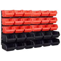 vidaXL Úložná sada s 32 košmi a nástennými panelmi červená a čierna