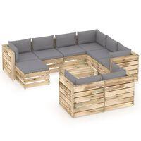 vidaXL 10-dielna záhradná súprava s podložkami zelené impregnované drevo