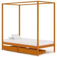 vidaXL Posteľný rám, baldachýn, 2 zásuvky, borovicový masív 100x200 cm