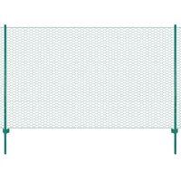 vidaXL Drôtené pletivo so stĺpikmi zelené 25x2 m oceľové