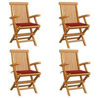 vidaXL Záhradné stoličky, červené podložky 4 ks, tíkový masív