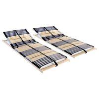 vidaXL Lamelové posteľné rošty 2 ks so 42 lamelami a 7 zónami 90x200 cm