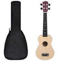 """vidaXL Sopránové ukulele s taškou pre deti bledé drevo 23"""""""