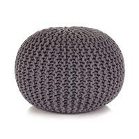 vidaXL Ručne pletená bavlnená taburetka, 50x35 cm, šedá