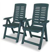 vidaXL Sklápacie záhradné stoličky 2 ks, plast, zelené