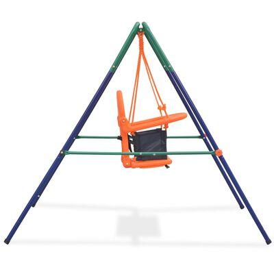 vidaXL Detská hojdačka s bezpečnostným postrojom, oranžová