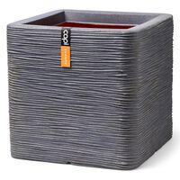 Capi Kvetináč Nature Rib štvorcový 40x40x40 cm tmavosivý