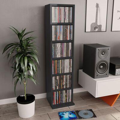 vidaXL Skrinka na CD, lesklá čierna 21x20x88 cm, drevotrieska