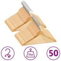 vidaXL 50-dielna sada vešiakov na oblečenie tvrdé drevo protišmyková