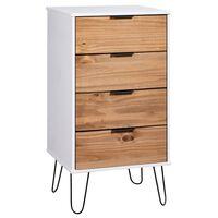 vidaXL Skrinka so zásuvkami, drevo a biela 45x39,5x90,3 cm, borovica
