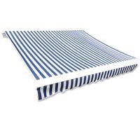 vidaXL Tieniaca plachta na markízu, modro biela 4x3 m (bez rámu)