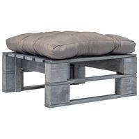 vidaXL Záhradná taburetka z paliet, sivá podložka, sivá, drevo