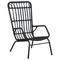 vidaXL Záhradná stolička, polyratan, čierna