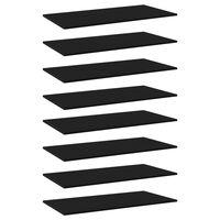 vidaXL Prídavné police 8 ks, čierne 80x30x1,5 cm, drevotrieska