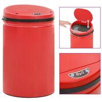 vidaXL Automatický odpadkový kôš, senzor 30 l, uhlíková oceľ, červený