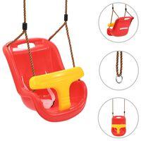 vidaXL Detská hojdačka s bezpečnostným pásom PP červená
