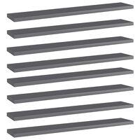 vidaXL Prídavné police 8 ks, lesklé sivé 60x10x1,5 cm, drevotrieska