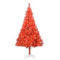 vidaXL Umelý vianočný stromček s LED a podstavcom červený 240 cm PVC