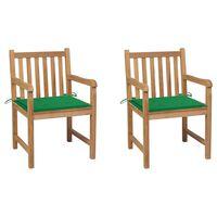 vidaXL Záhradné stoličky 2 ks zelené podložky teakový masív