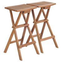 vidaXL Skladacie barové stoličky 2 ks, tíkový masív