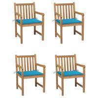 vidaXL Záhradné stoličky 4 ks s modrými podložkami teakový masív
