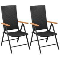 vidaXL Stohovateľné záhradné stoličky 2 ks, polyratan, čierne