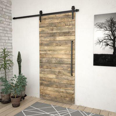 vidaXL Kovanie na posuvné dvere 183 cm, oceľ, čierne