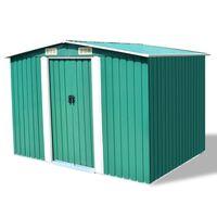 vidaXL Záhradná kôlňa, zelená, kov 257x205x178 cm