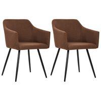 vidaXL Jedálenské stoličky 2 ks, hnedé, látka