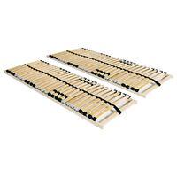 vidaXL Lamelové posteľné rošty 2 ks s 28 lamelami a 7 zónami 90x200 cm